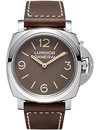 amazon co uk panerai watches panerai men s 47mm brown leather band steel case mechanical