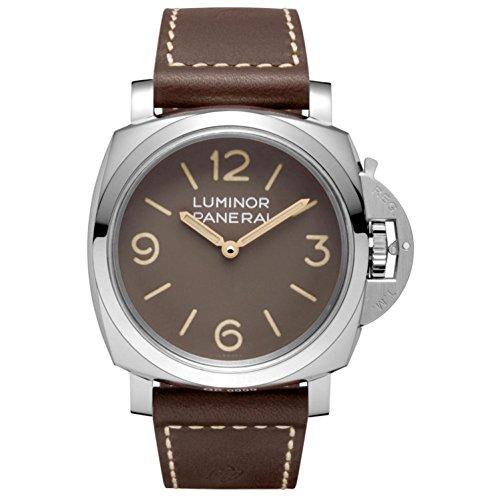 Panerai Herren-Armbanduhr 47mm Armband Leder Braun Gehäuse Edelstahl Saphirglas Handaufzug Analog PAM00663
