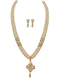 Classique Designer Women's Silver Alloy with Gold Plated Button Pearl Necklace Set(White, CP044)