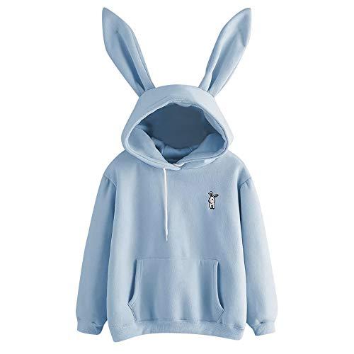 Damen Hoodies, VEMOW Langarm Cute Kaninchen Ohr Weiß Sweatshirt Tops Bluse(X1-Blau, L/38)