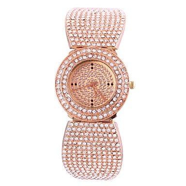 Rettangolo diamante pieno delle donne della fascia d'acciaio quadrante orologio analogico quarzo rosa orologi d'oro ( Colore : Oro rosa , Sesso : Donna )
