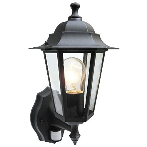 External light fittings amazon outdoor 6 sided black wall lantern security light complete with pir motion sensor detector ip43 weatherproof with lamp aloadofball Choice Image