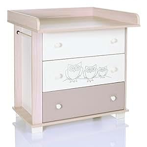 Commode bebe hiboux creme avec table de langer et 3 grand tiroirs du lcp kids b b s for Table a langer commode carrefour