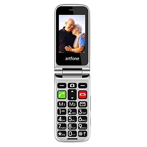 Mobiltelefon, Artfone CF241A Senioren-Handy, Klapphandy mit großen Tasten und ohne Vertrag, Mit Notruf-Knopf und Taschenlampe (Vier Frequenzen: 850/900/1800/1900 MHz)