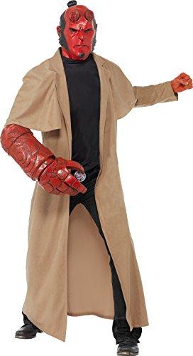 Hellboy Kostüm enthält Mantel Maske Armteil und Gürtelschnalle, (Maske Hellboy)