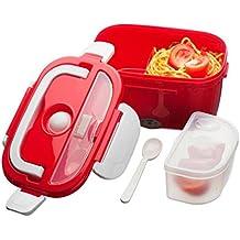 Magic trébol rojo eléctrica portátil compacto calentador de alimentos almuerzo Bento Box 40W 1.5L nuevo Reino Unido