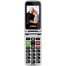 Telefono Cellulare a Conchiglia per Anziani, Artfone CF241A con Tasti Grandi, Funzione SOS(Nero)