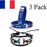 Ndier Bracelets de Drapeau Français Lot de 2PCS Bracelet France en Silicone et Un Cuir tissé PU Bracelet Tressé pour Match de Football de la 2018 Femme Homme
