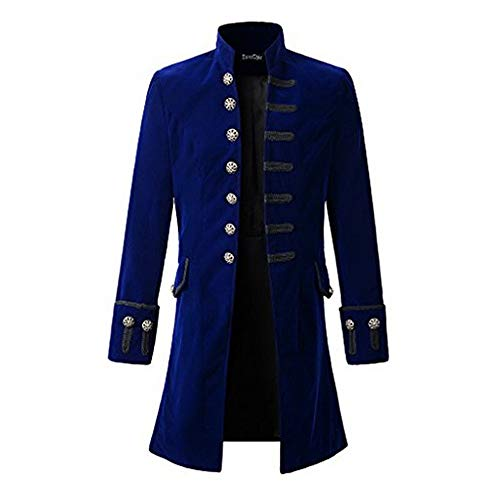 Beikoard Vintage Smoking Herren Steampunk Gothic Jacke Langarm Jacke Cosplay Uniform für Männer Uniform Kostüm Party Outwear Weihnachtskostüm (Uniform Kostüm Party)