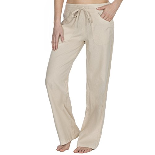Metzuyan - Womens Linen Trousers | Summer Drawstring Pants | Plus Size 16-22 | Assorted Colours