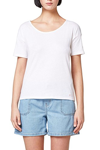 edc by ESPRIT Damen T-Shirt 058CC1K082, Weiß (White 100), X-Small