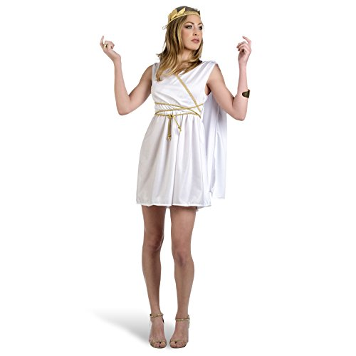 Karneval Damen Kostüm Römische Göttin kurzes Kleid mit Scherpe, Kordel und Kopfschmuck Minikleid - - Kostüm Halloween Göttin