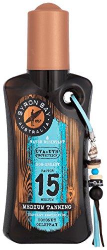 Sonnenöl Spray LSF 15 von BYRON BAY | 200ml Cocos Sonnenöl Wasserfest | Sonnenspray LSF 15 für den Urlaub | Tolles Kokos Körperöl mit Duft & Schutz