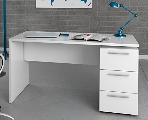 Miroytengo Escritorio o Mesa de Estudio Juvenil en Color Blanco con 3 cajones y Tiradores metálicos 138x74x60 cm