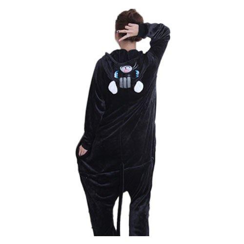 BLACK SUGAR Mardi Gras -S/N Nouveau Kigurumi Pyjama Chat Noir Rose - Genouillère Combinaison Déguisement Adulte Ado Unisexe en Peluche Très Doux Très Confortable (Noir, S : 150-155cm)