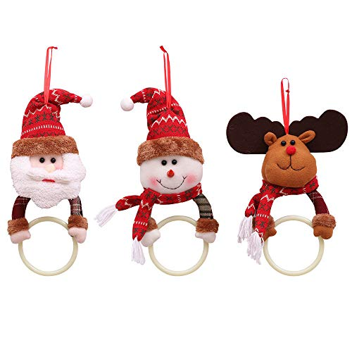 VHVCX Weihnachten Kleidung Serviette Kreis Heim Anhänger Handtuch-Ring-Haupt Tür-Fenster-Frohe Weihnachtsdekoration Neujahr 38X12Cm