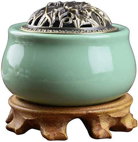 Cfbcc Keramik Aroma Smokeless Räuchergefäss Agarwood Aromatherapie ätherisches Öl Elektro-Heizung Aromatherapie Ofen (Color : Green)