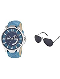 WM Gift Combo Set Of Sunglasses And Day And Date Analog Blue Dial Blue Leather Strap Quartz Watch For Men And...