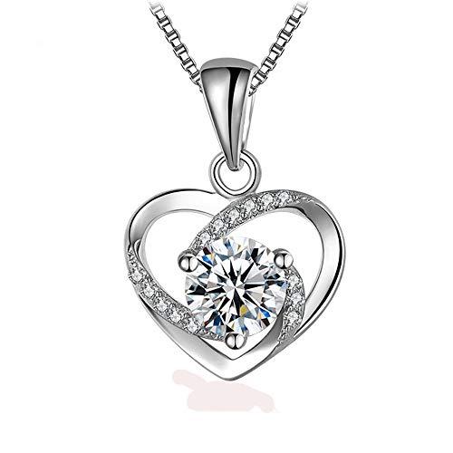 NIMUIL 925 Sterling Silber Herz Halsketten Damen Zirkonia Kettenanhänger Silberkette mit 45 cm Kastenkette (Einstellbar)