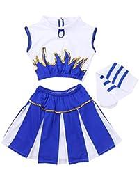CHICTRY Déguisement de Pom-Pom Girl Costume écoliere (Haut+avec  Jupe+Chaussettes) pour Fille… c966d9c6fb2