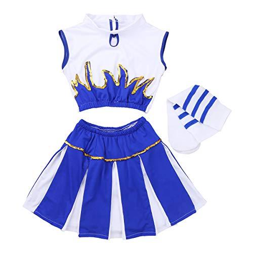 School Kostüm Kind Cheerleader High - FEESHOW 3-teilig Mädchen Cheerleading Kostüm Kleid Uniform Bekleidung Kinder Tanzanzug mit Socken Outfit Weiß+Blau 152-164/12-14Jahre