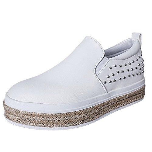 VogueZone009 Femme Pu Cuir Couleur Unie Tire Rond à Talon Bas Chaussures Légeres Blanc