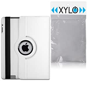 White XYLO-SMART 360 Degree Rotating Leather Wallet Case / Folio Cover & Viewing Stand for the Apple iPad 2, 3 & 4. Includes ClearICE Screen Protector & Mini Stylus.