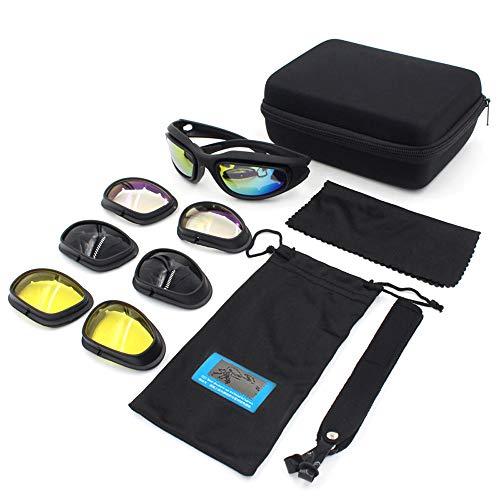 Yiph-Sunglass Sonnenbrillen Mode Taktische Sport-Sonnenbrille für Unisex, Motorrad-Reitbrille, die Jagdfischen-Schießen fährt (Color : Schwarz, Size : One Size)