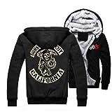 U CAN Sudaderas Sons of Anarchy Logo Sudaderas con Capucha para Hombre Samcro Black Zipper Mens Coat