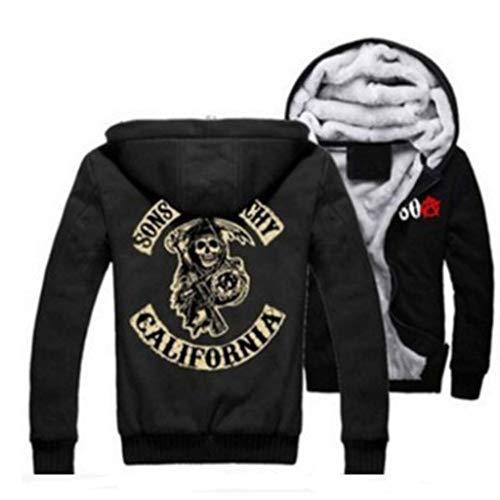 U CAN Sons of Anarchy Logo Hoodies Für Männer Samcro Black Zipper Mens Coat (Sons Of Anarchy Hoodie-pullover)