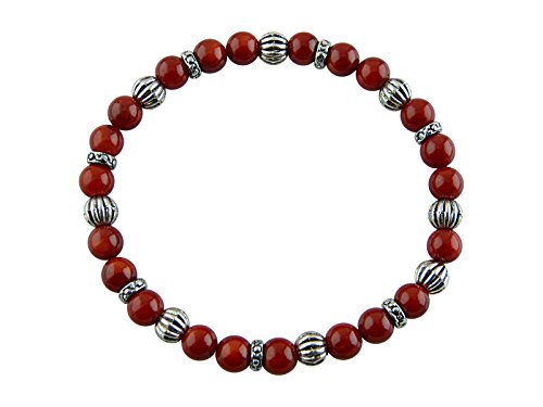 Sunsara Traumsteinshop Sternzeichen Armband - Krebs, Wurzelkoralle (Schaumkoralle), mit silberfarbenen Tibet Perlen, Heilsteinarmband, Stretcharmband...
