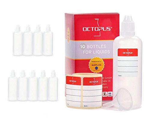 Octopus 10x Bottigliette per liquidi 100 ml con Imbuto, ad Esempio per liquidi per Sigarette elettroniche, Bottiglie contagocce e Dispenser a Gocce + Tappo Scuro con Sistema di Sicurezza per Bambini