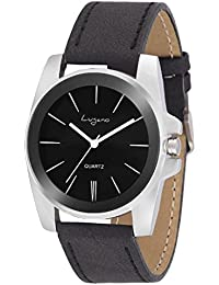 Lugano Black Dail Round Leather Strap Analog Wacth-For Men,Boys
