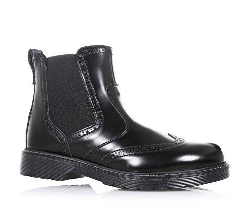 NERO GIARDINI - Bottine noire en cuir, glissière latérale, perforée, insert latéral élastique, coutures visibles et semelle en caoutchouc, garçon, garçons