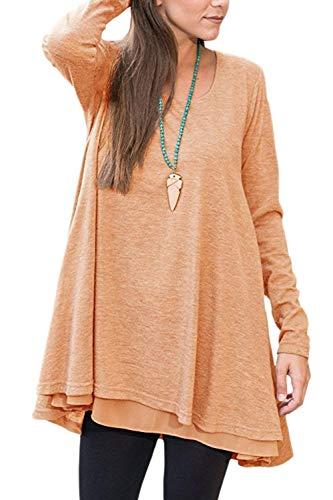 Damen Frauen Casual Lange Ärmel Solide Fit Und Perfect Pullover T Shirt Loose Rundhals Sweatshirt Tops Style (Color : Orange, Size : XL)