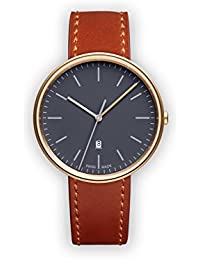 Uniform Wares M38 Quartz Watch with Grey Analogue Dial with Brown Leather Strap