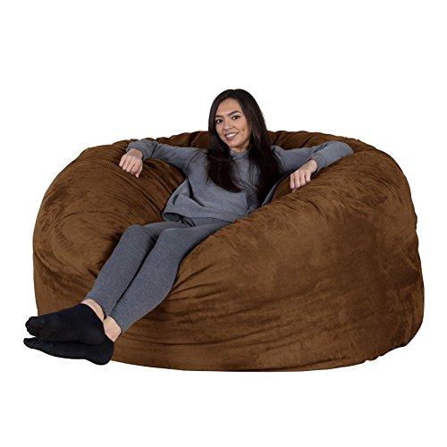 Lounge Lizard Wildleder - XXL RIESEN Sitzsack Sofa – Riesen Sitzsack, Velours, großes Sofa, Relax Matratze, UK - Schoko