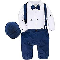 A&J DESIGN Traje Formal Bebé Niño Mono de Tirante Bautizo (Azul,18-24 Meses)