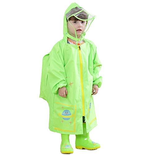 Bwiv Regenponcho Kinder Wasserdicht Atmungsaktiv Leicht Regenmantel Mit Schulranzen Jungen Mädchen langlebende Regen Overall Softshelljacke Regencape Outdoor Sport Grün L