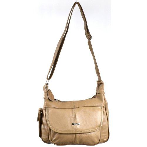 Lorenz - Borsa a tracolla da donna in pelle, con tasca per il cellulare Colore: Nero / Marrone / Fulvo chiaro / Marrone chiaro / Beige Beige (Fulvo)