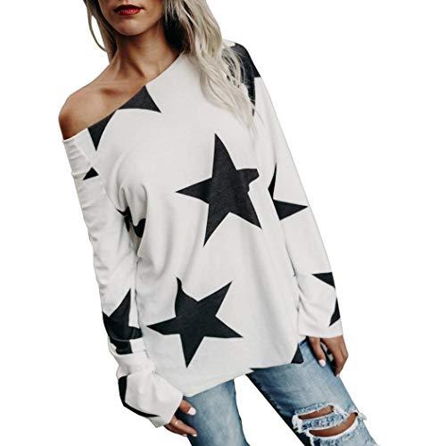 ESAILQ Frauen Mädchen Strapless Star Sweatshirt Langarm Crop Jumper Pullover Tops (XXXL, Weiß-1)