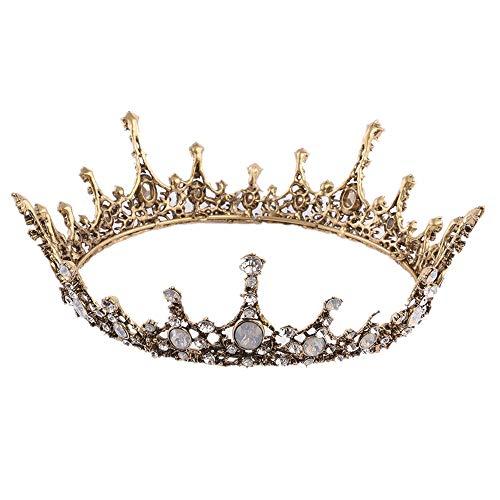 Owenqian Kristall Tiara Strass Tiara Krone Jeweled Barock Königin Krone Strass Hochzeit Kronen und Diademe für Frauen Halloween Thanksgiving Braut Kopfschmuck Frauen Haarschmuck