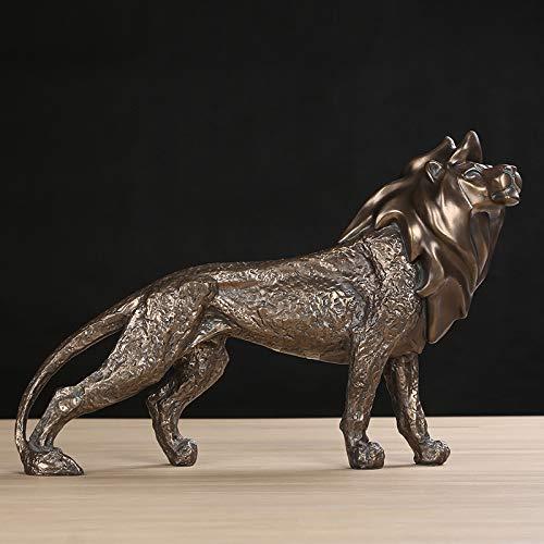 CCWDRZ Statue-Vintage Löwen Skulptur Handgemachte Harz Afrikanische Wild Beast Lion King Statue Dekoration Kunstwerk Ornament Geschenk, Kupfer -
