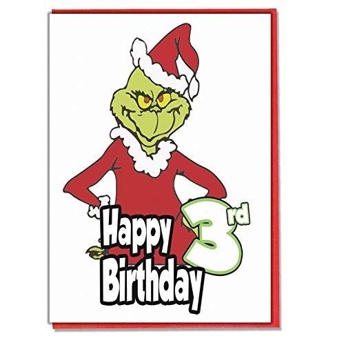 Grinch 3. Geburtstagskarte - Mädchen - Jungen - Sohn - Enkel - Tochter - Enkel - Freund