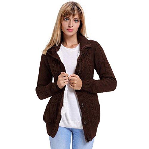 Womens Lange Hülse Knopfoberseitenstrickjacke Herbst und Winter behalten warme mit Kapuze Wolljacke, Brown, s -