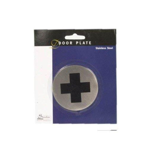Türschild, für Erste Hilfe Kasten / Raum + Co, Tür Schild Edelstahl, Rückseitig mit Klebestreifen, BE-67571