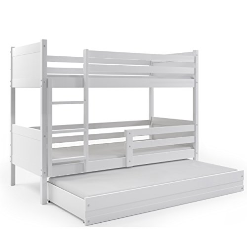 Etagenbett RINO 3 190x80cm weiß/weiß inkl. Lattenrost + Matratzen