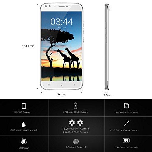 OUKITEL U22 - 3G Smartphone Libre ( Pantalla 5,5 pulgadas HD IPS, Android 7.0 con 4 cámaras: 13MP + 2MP traseras, 8MP + 2MP delanteras, 2GB RAM + 16GB ROM, lector de huellas dactilares rápido, dual sim), Blanco
