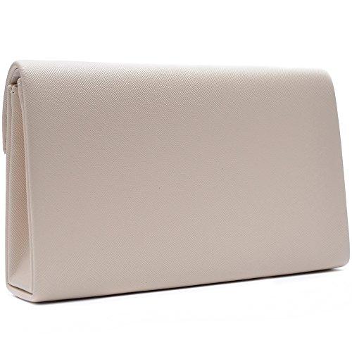 Vain Secrets Damen Umhänge Taschen Clutch Abendtasche in vielen Farben Creme