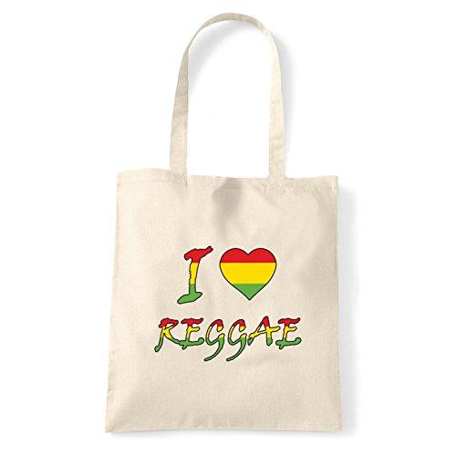 Art T-shirt, Borsa Shoulder I Love Reggae, Shopper, Mare Natural